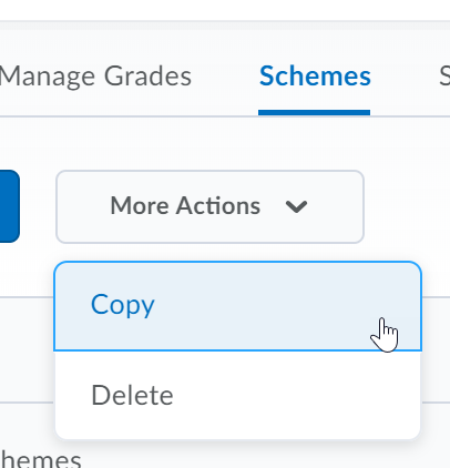 Shows the Copy scheme button.