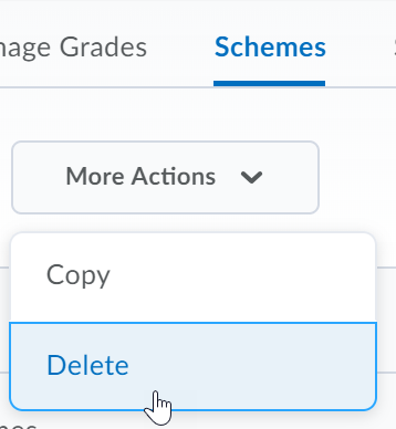 Shows the Schemes tab and the Delete button.