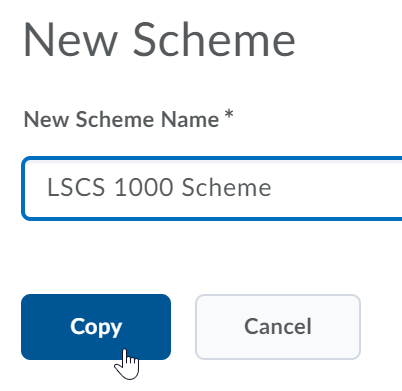Shows the New Scheme Name field and the Copy button.