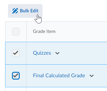 Shows Bulk edit icon in the grade book category option