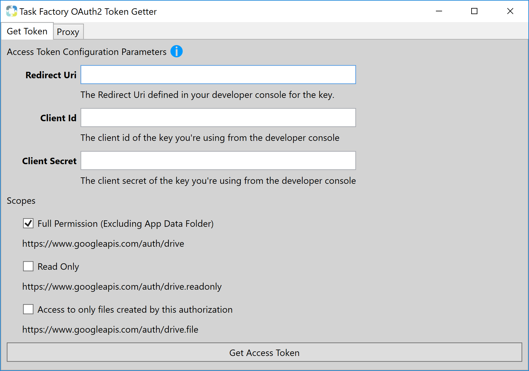 Task Factory Google Drive OAuth2 Token Getter