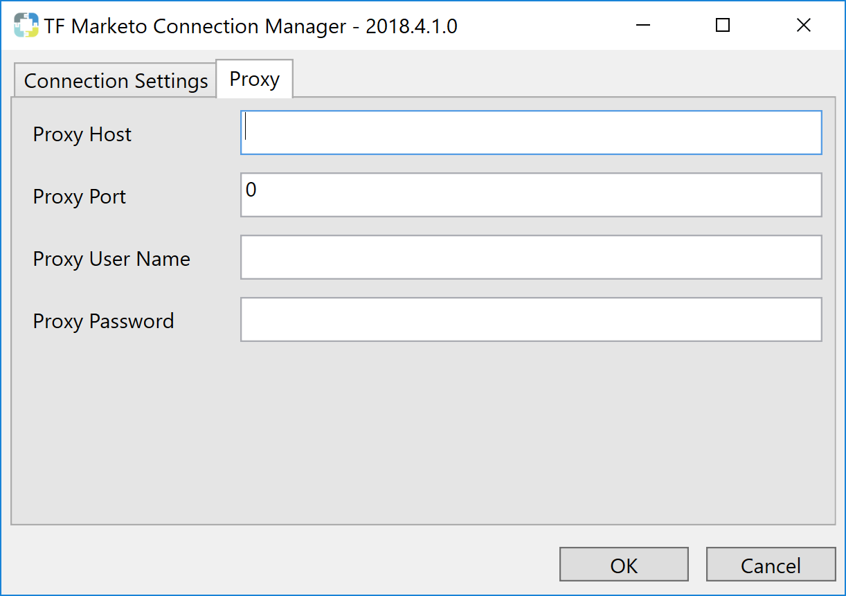 Task Factory Marketo Connection Manager Proxy tab