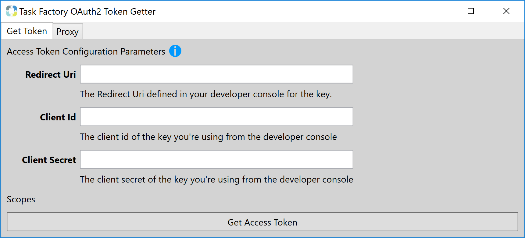 Task Factory OAuth2 Token Getter Get Access Token