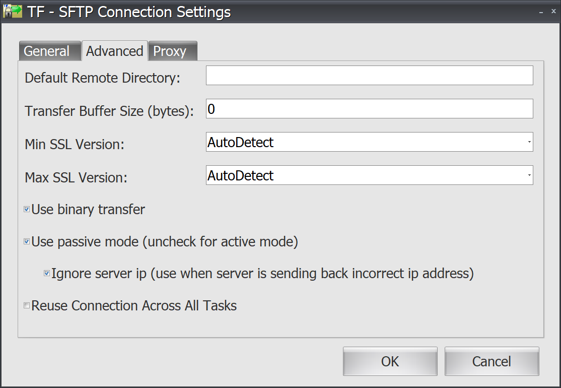 Task Factory SFTP Connection Settings Advanced tab