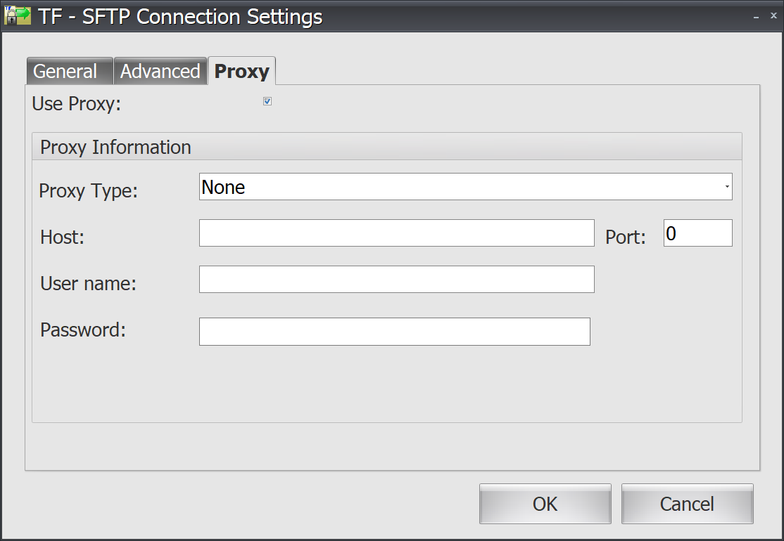 Task Factory SFTP Connection Settings Proxy tab