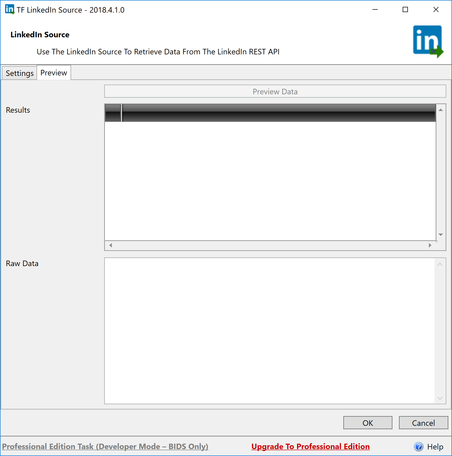 Task Factory LinkedIn Source Preview