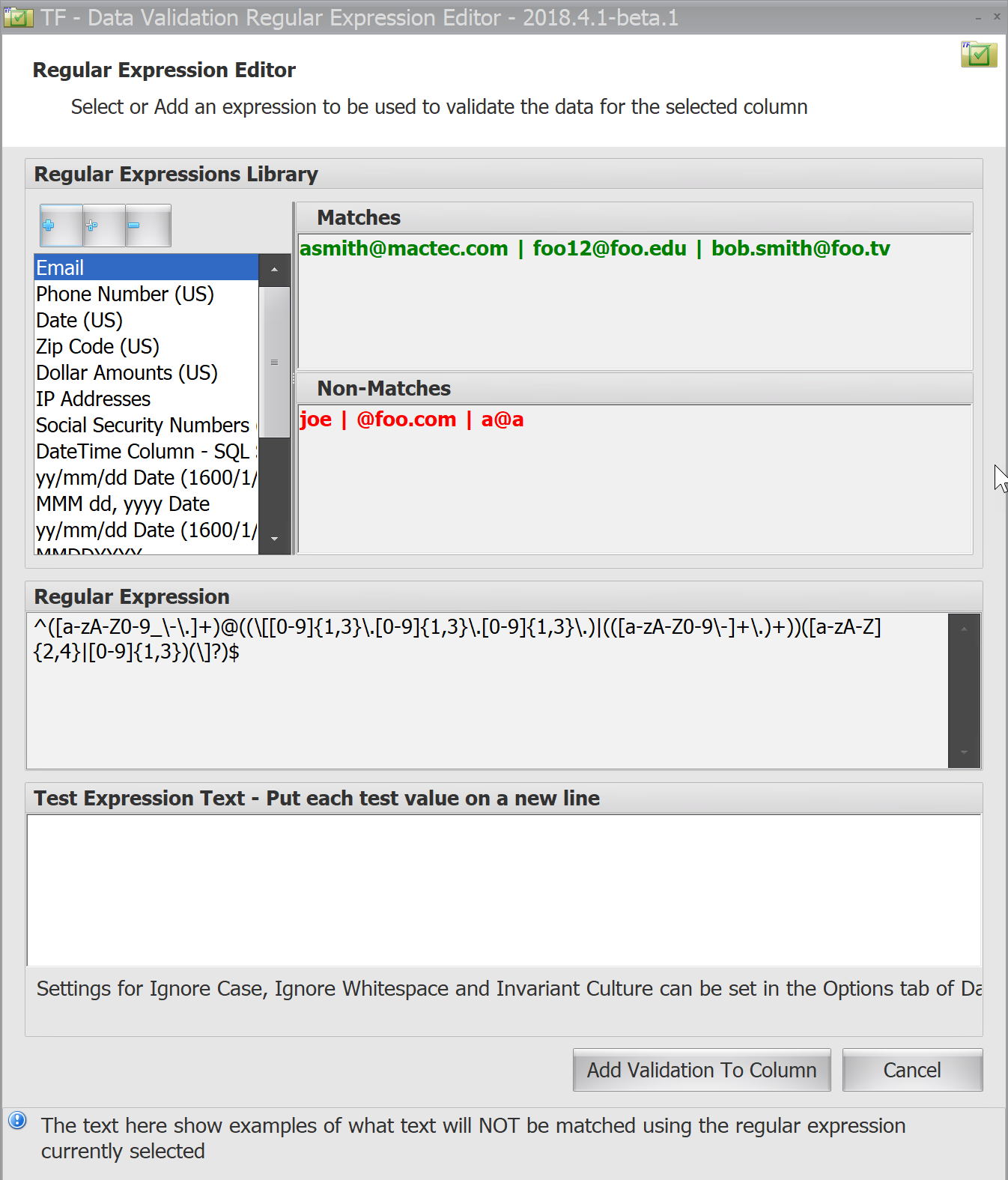Task Factory Data Validation Regular Expression Editor
