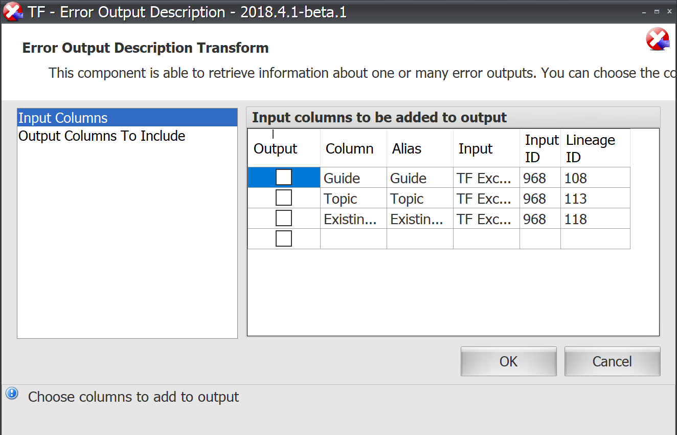 Task Factory Error Output Description Input Columns