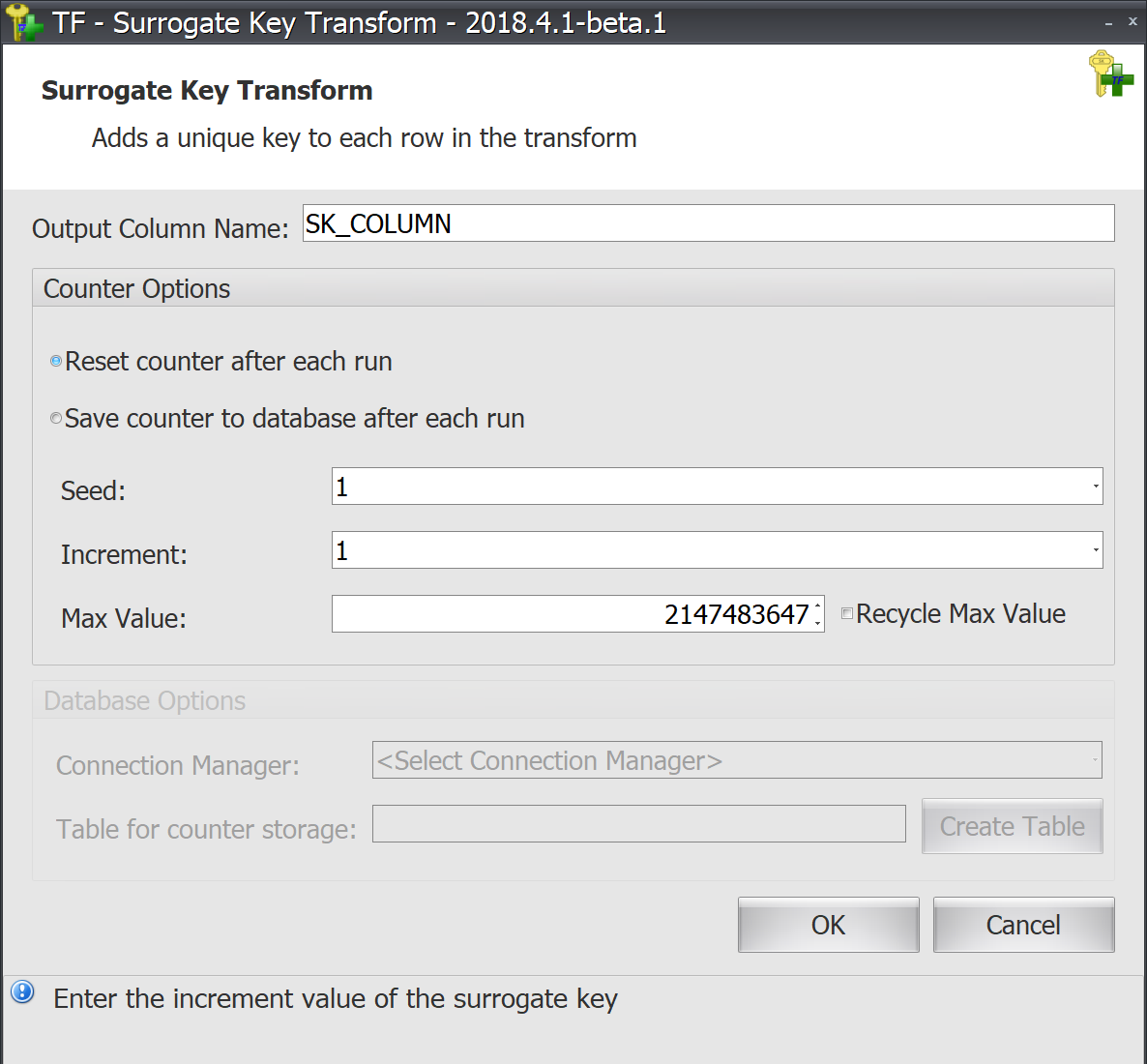 Task Factory Surrogate Key Transform