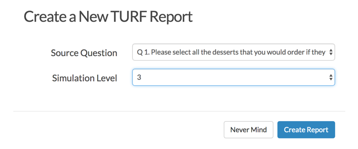 Create New TURF Report