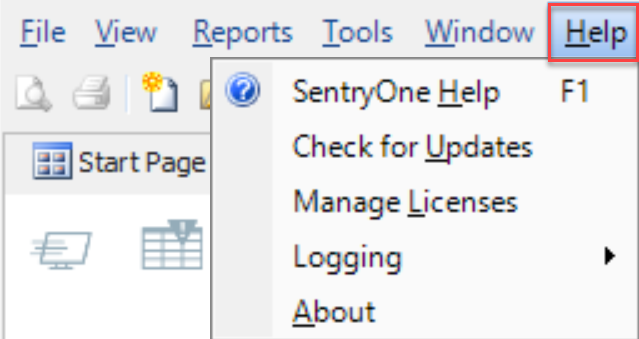 SentryOne Help Menu