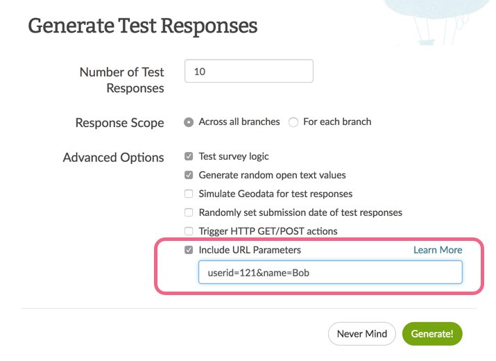 Include URL Parameters for Testing