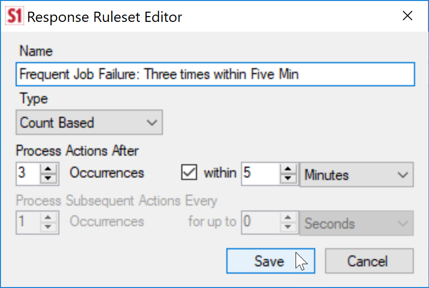 SentryOne Response Ruleset Editor Frequent Job Failure