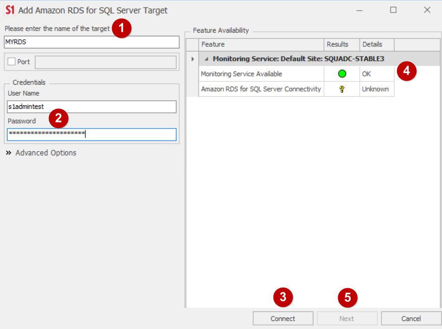 Adding Amazon RDS for SQL Server Target in SQL Sentry
