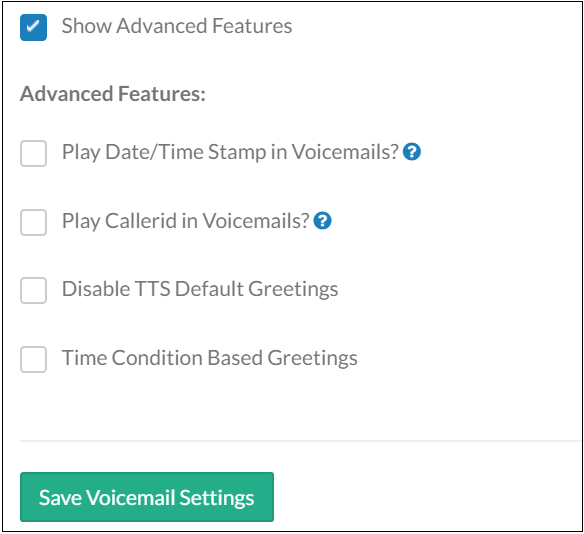 Advanced Voicemail Settings