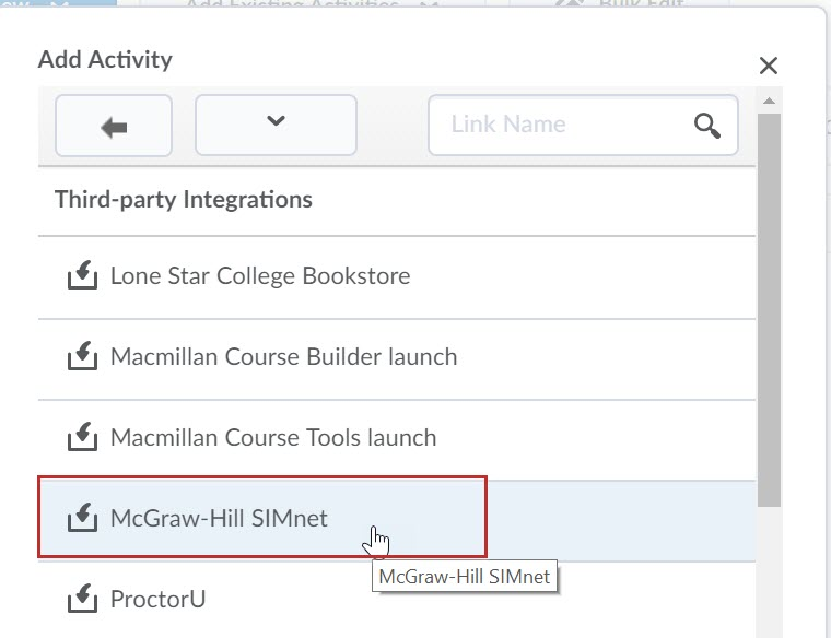 Identifies the McGraw-Hill SIMnet option under the Third-party Integrations area.