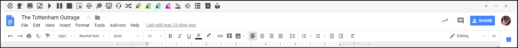 Read&Write for Google Chrome Toolbar Tab Extended