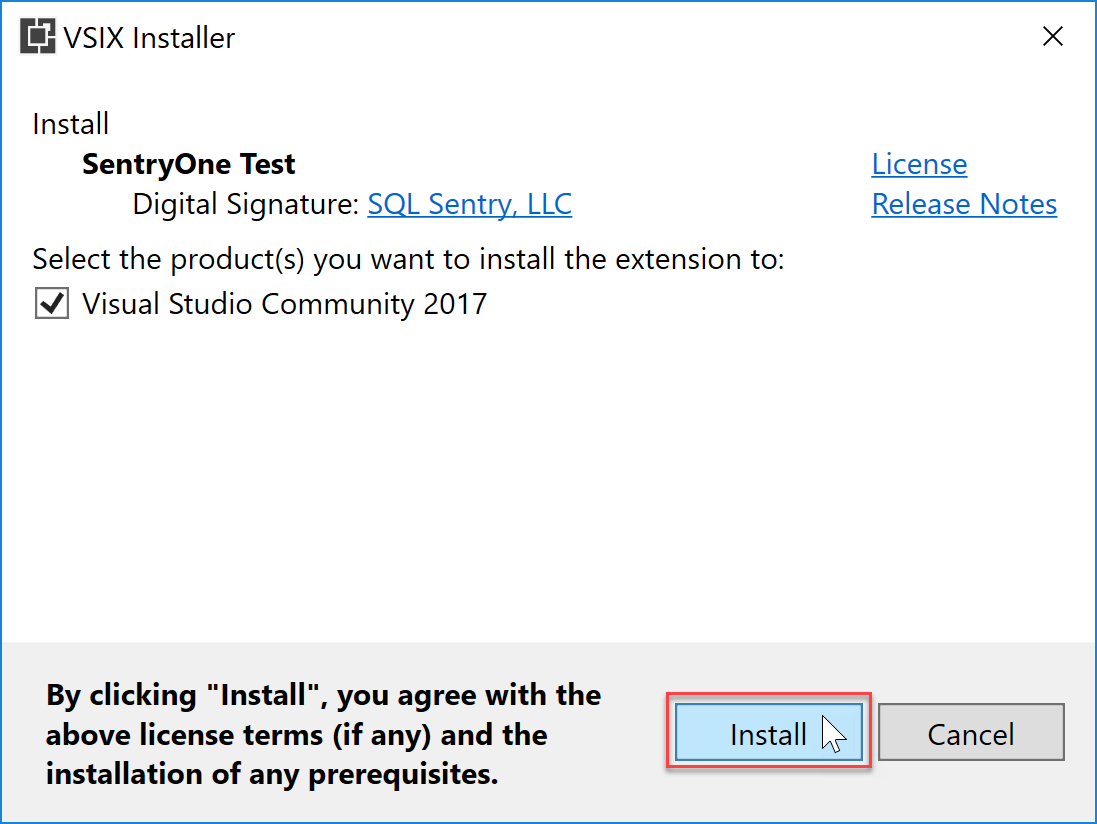 SentryOne Test VSIX Installer