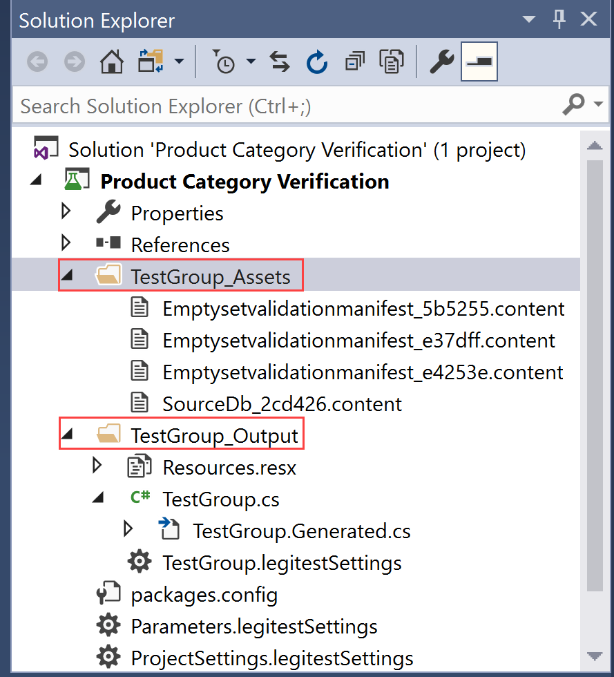 SentryOne Test Solution Explorer TestGroup_Assets and TestGroup_Output