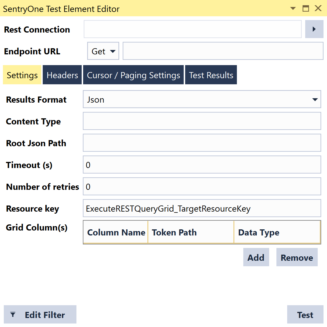 SentryOne Test Execute Rest Query Grid Settings