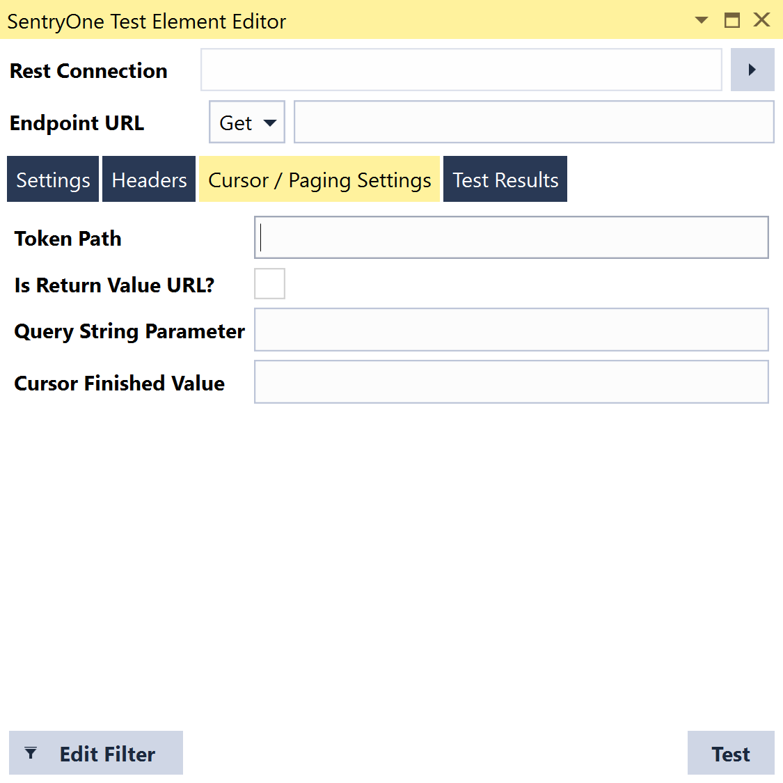 SentryOne Test Execute Rest Query Grid Cursor Paging Settings