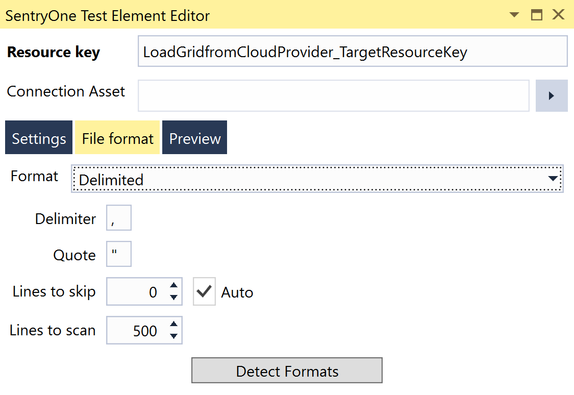 SentryOne Test Load Grid from Cloud Provider Element Editor File Format tab