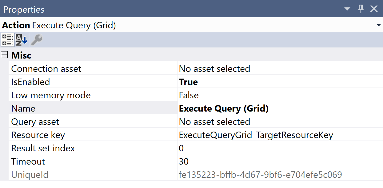 SentryOne TestExecute Query Grid Properties