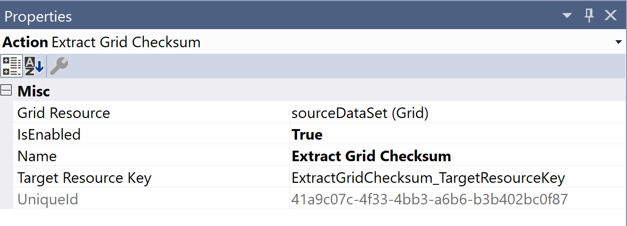 SentryOne Test Extract Grid Checksum Properties