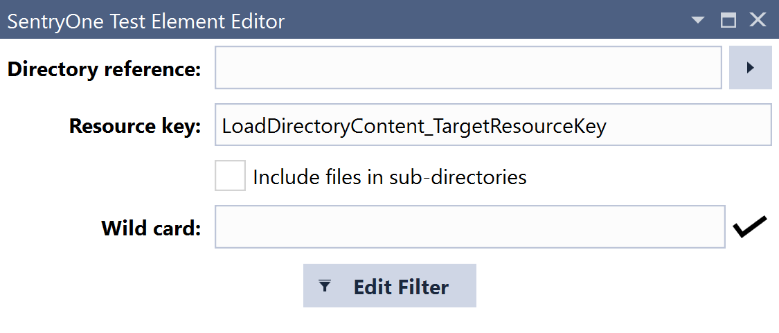 SentryOne Test Load Directory Content Element Editor