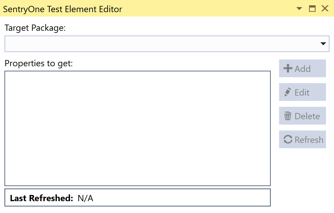 SentryOne Test Get Properties Element Editor