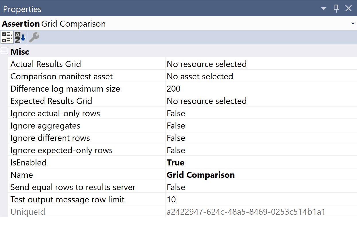 SentryOne Test Grid Comparison Properties