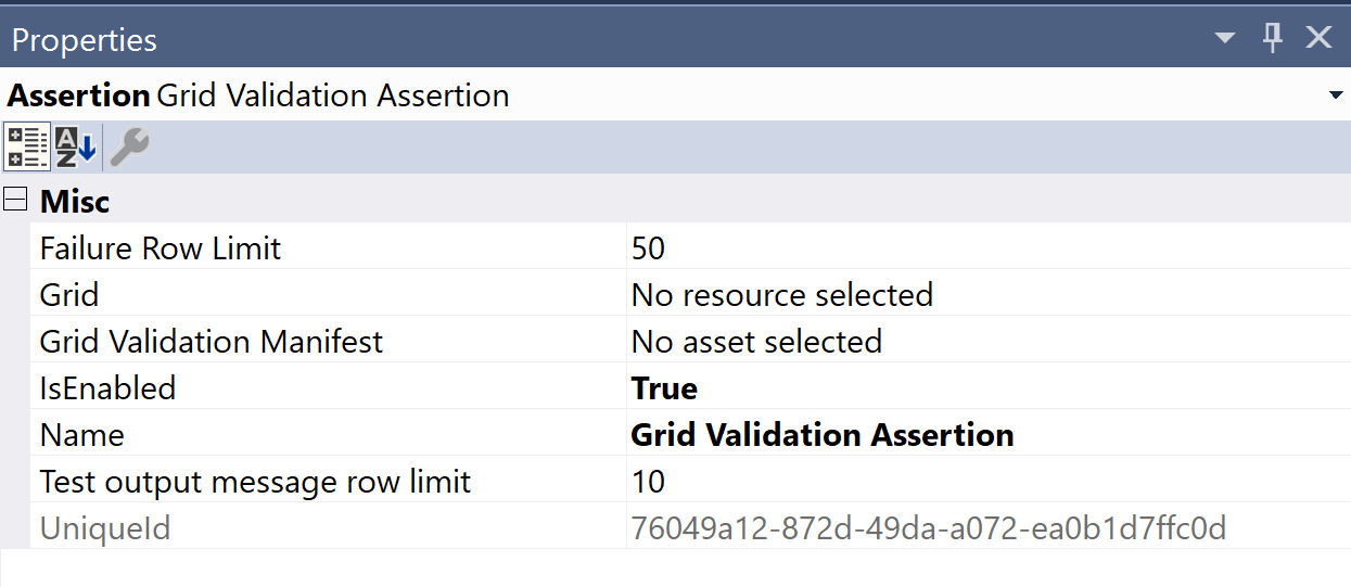 SentryOne Test Grid Validation Properties