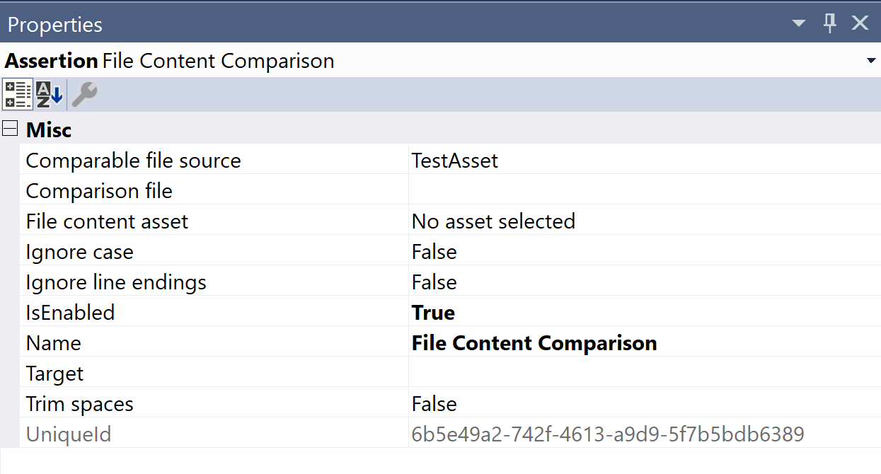 SentryOne Test File Content Comparison Properties