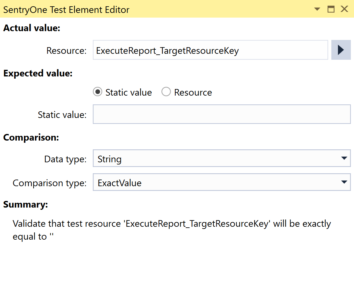 SentryOne Test Value Comparison Element Editor Static Value