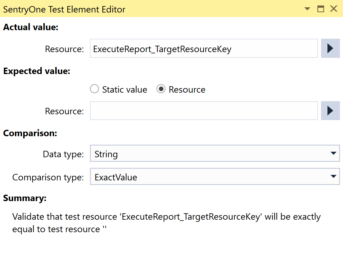 SentryOne Test Value Comparison Element Editor Resource