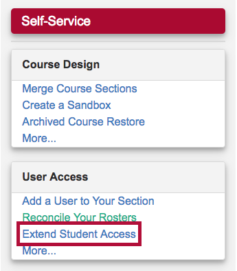 Identifies the Extended Course Access for a Student form in the User Access list.