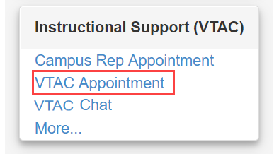 Displays the VTAC Appointment link on the screen.