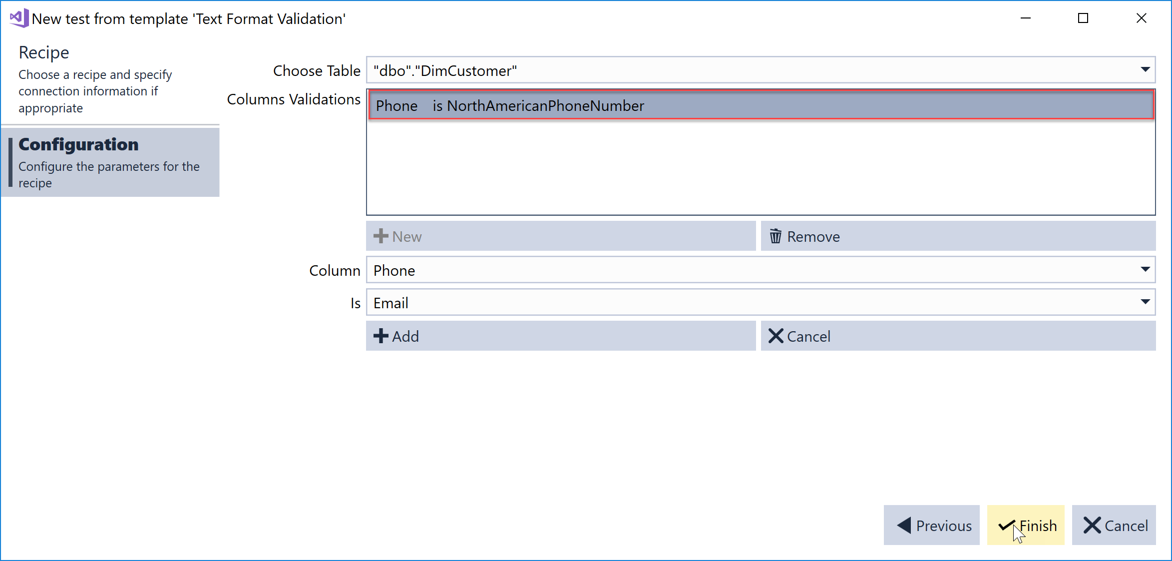 SentryOne Test Text Format Validation recipe column validation added