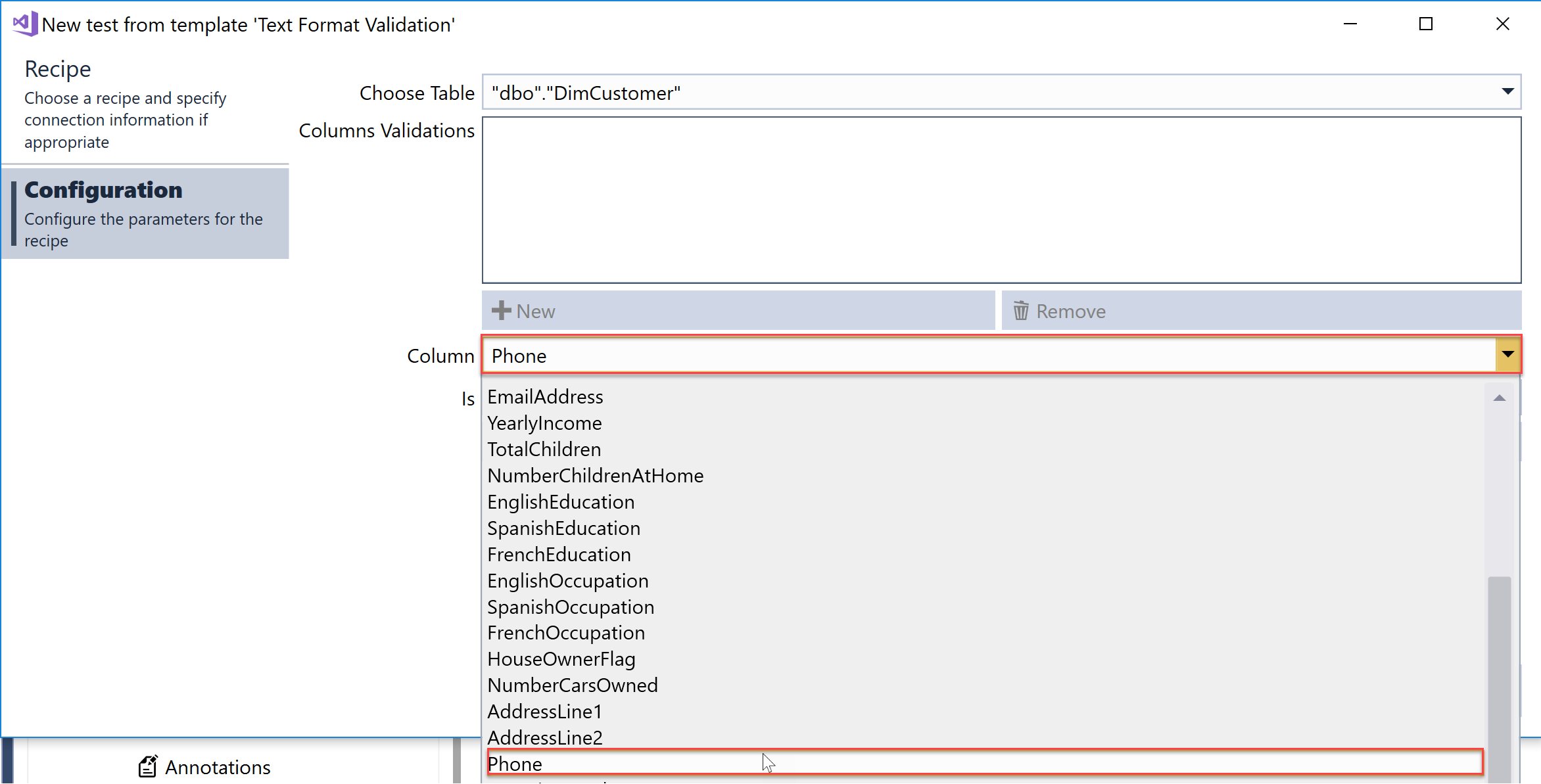 SentryOne Test Text Format Validation recipe Choose column