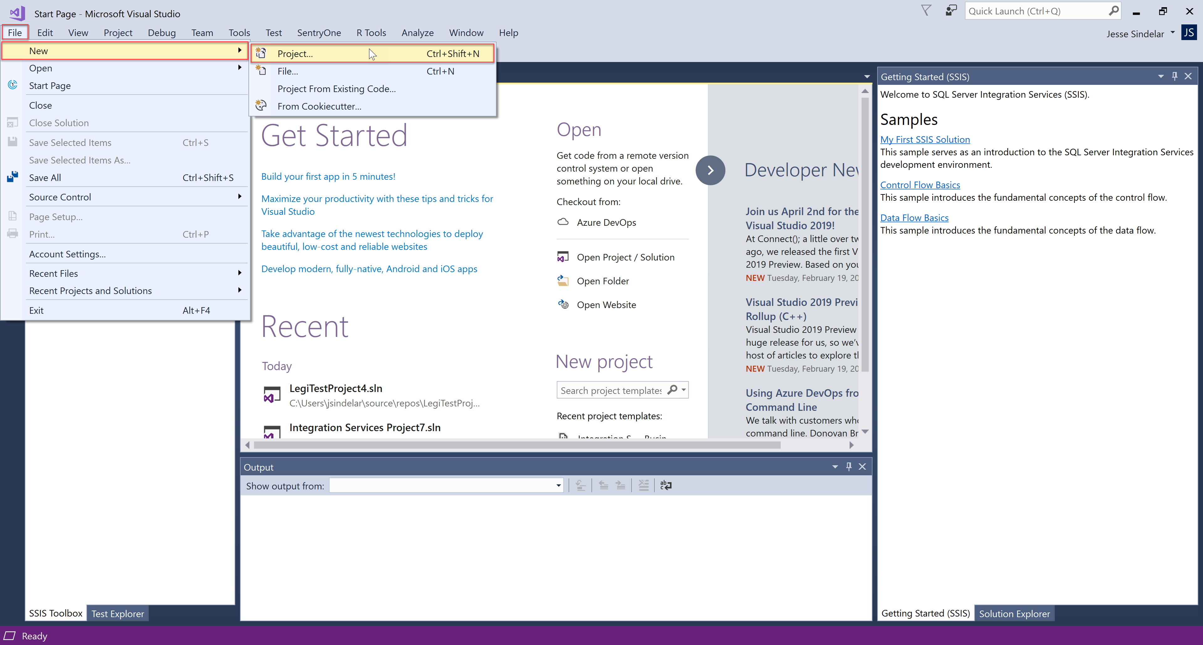 SentryOne Test New Visual Studio Project