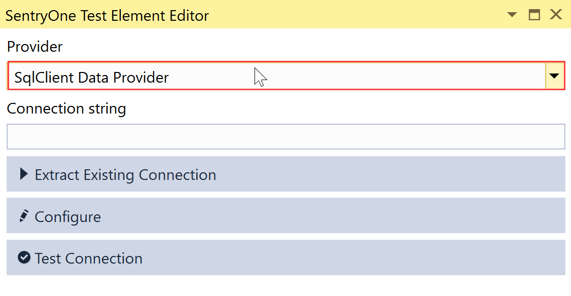 SentryOne Test Element Editor select SqlClient Data Provider