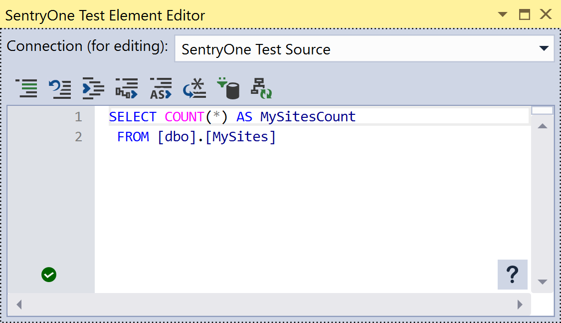 SentryOne Test Query Asset Element Editor
