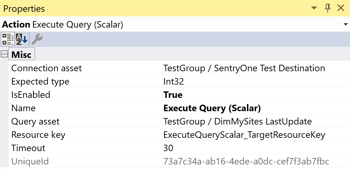 SentryOne Test Execute Query Scalar