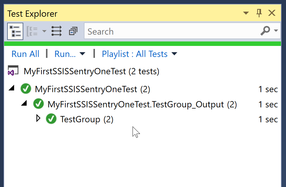 SentryOne Test Test Explorer results