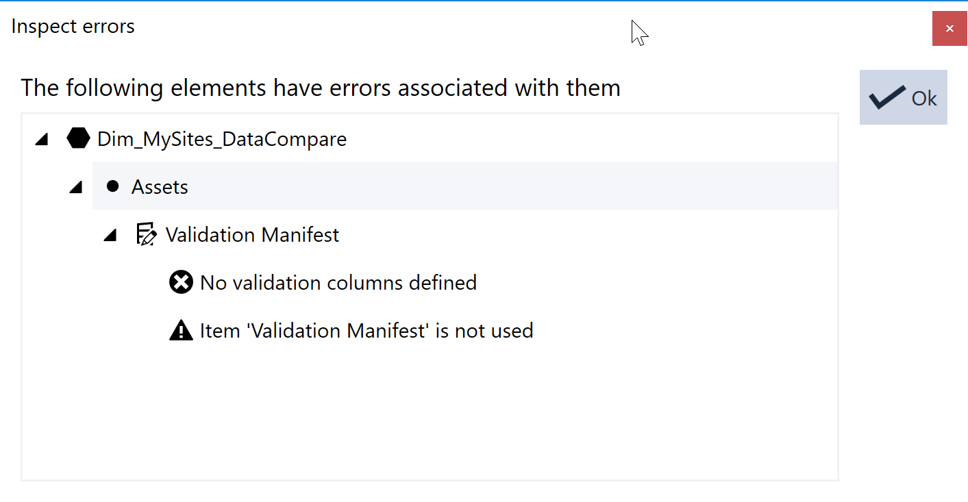 SentryOne Test Inspect errors window