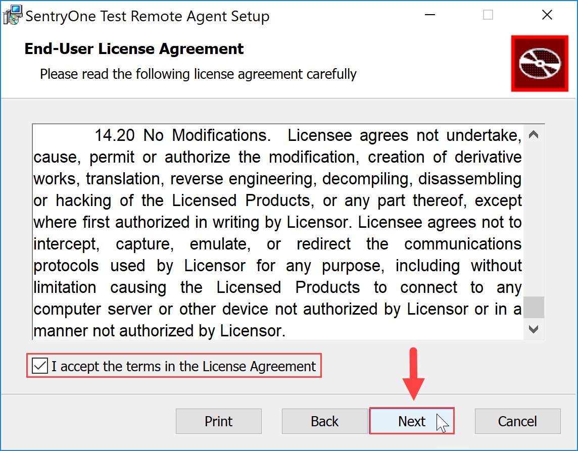 SentryOne Test Remote Agent Setup End User License Agreement