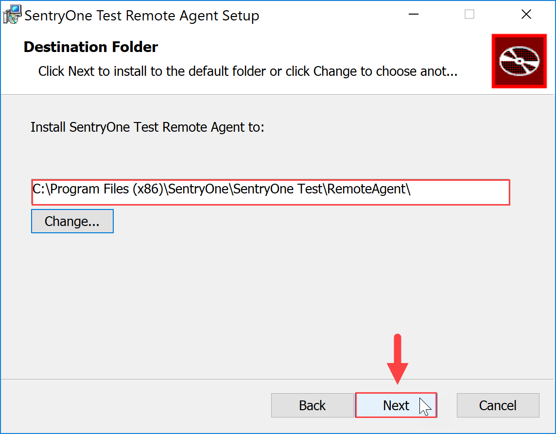SentryOne Test Remote Agent Setup Destination Folder