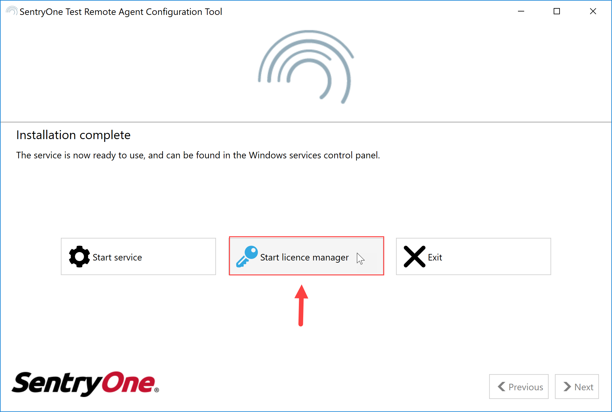 SentryOne Test Remote Agent Configuration Tool Start license manager