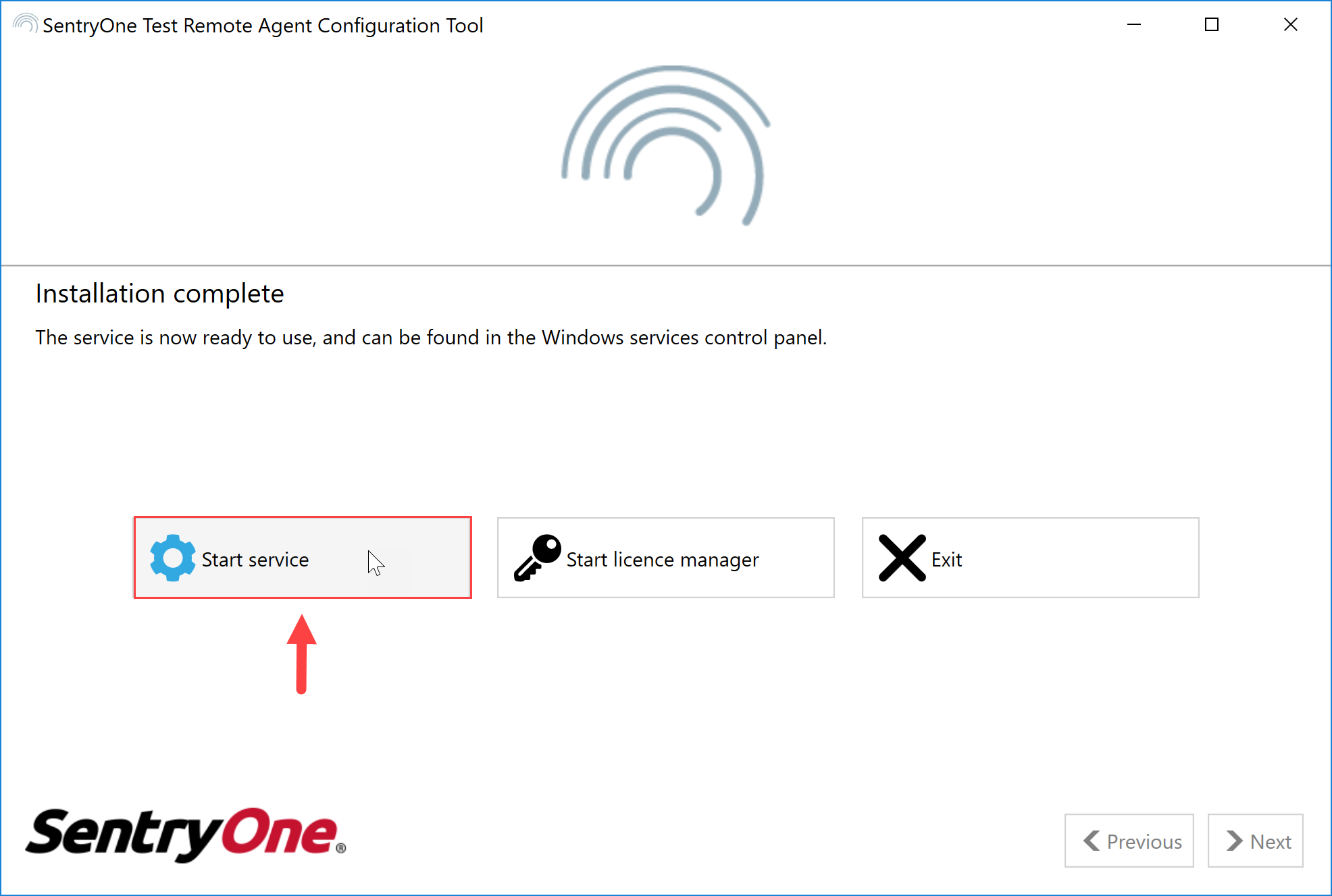 SentryOne Test Remote Agent Configuration Tool Start Service