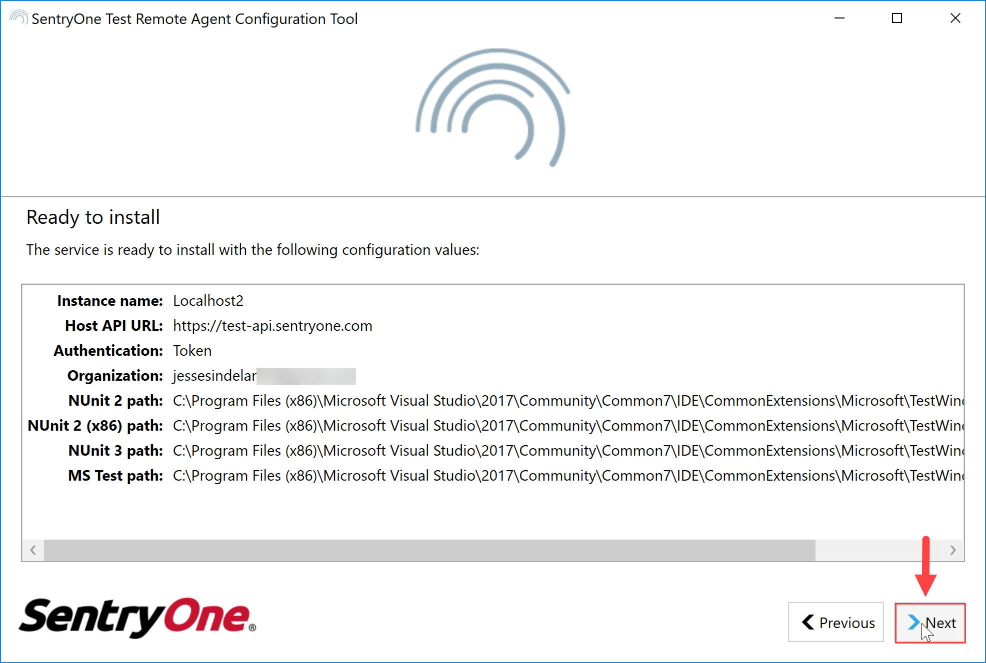 SentryOne Test Remote Agent Configuration Tool Ready to Install